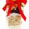 Cookie mix layered in jar with red ribbon
