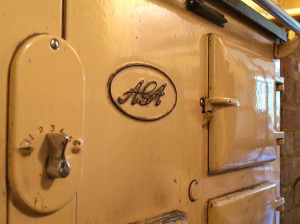 close up of cream-colored vintage Aga oven