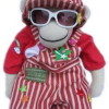 Elton John Sock Monkey in red striped suit and sunglasses