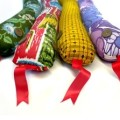 Colorful snake draft stoppers with ribbon tongues