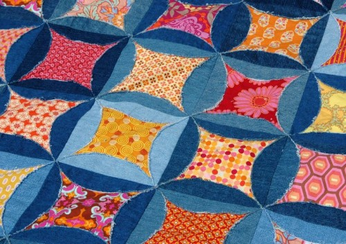 circle jeans quilt made by Jessica Levitt