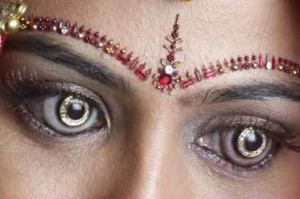 woman with diamond-encrusted contact lenses